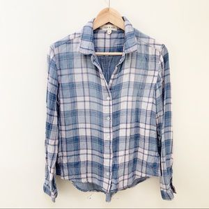 Cloth & Stone plaid pattern button down shirt S